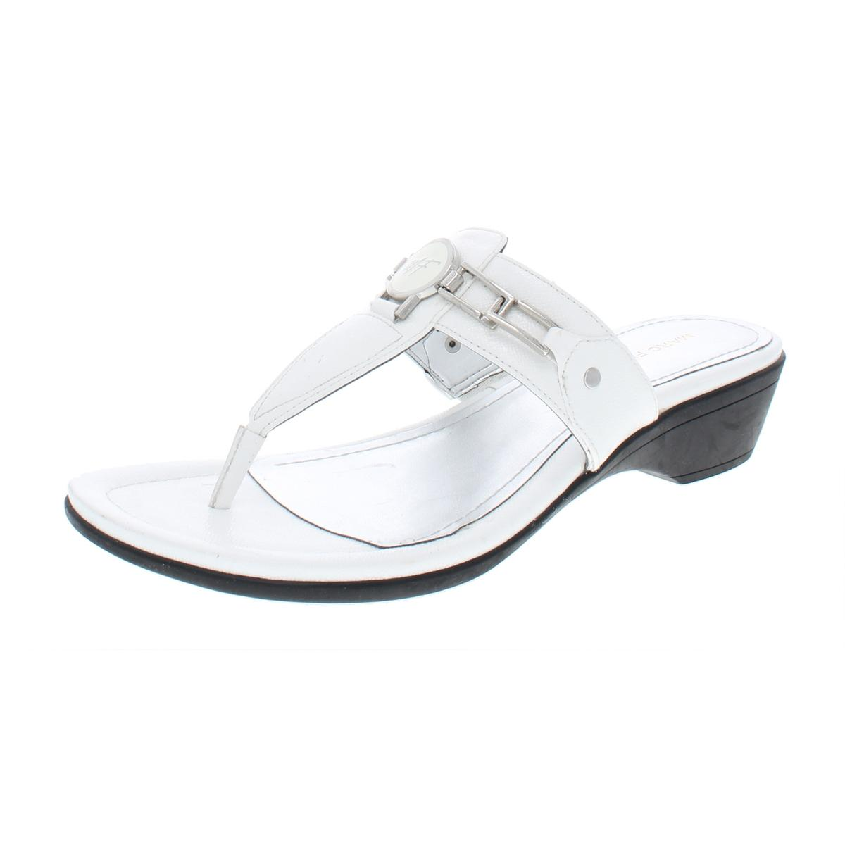 7be575bb0fb Details about Marc Fisher Womens Amina 3 Faux Leather Demi Wedge Thong  Sandals Shoes BHFO 5335