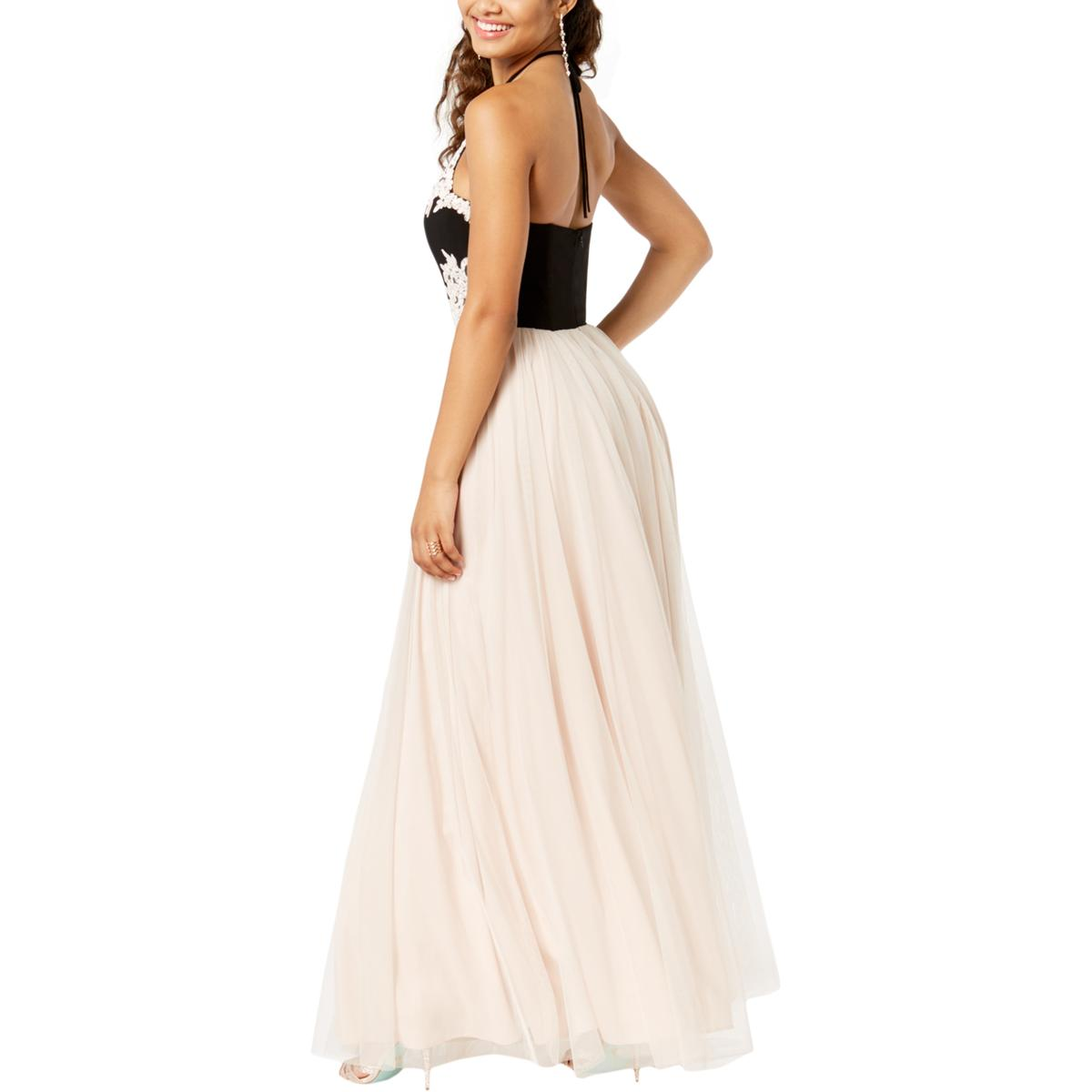 Blondie Nites Womens Embellished Halter Prom Formal Formal Formal Dress Gown Juniors BHFO 3057 595f3f