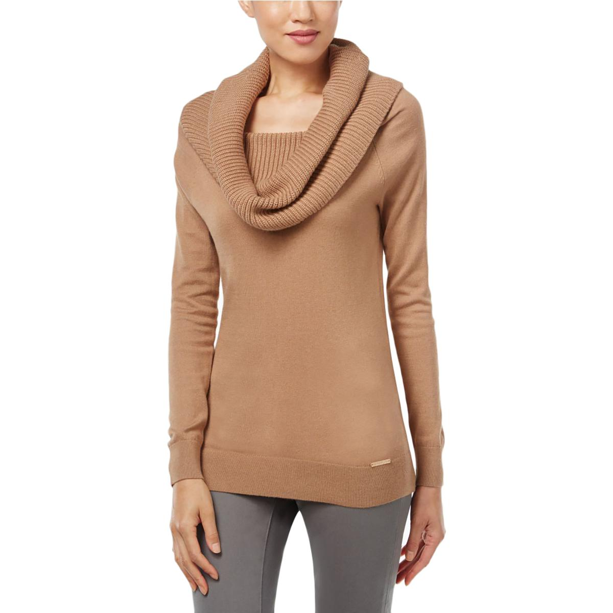 Michael Kors 0313 Size Large L Womens Camel Ribbed Cowl Neck ...