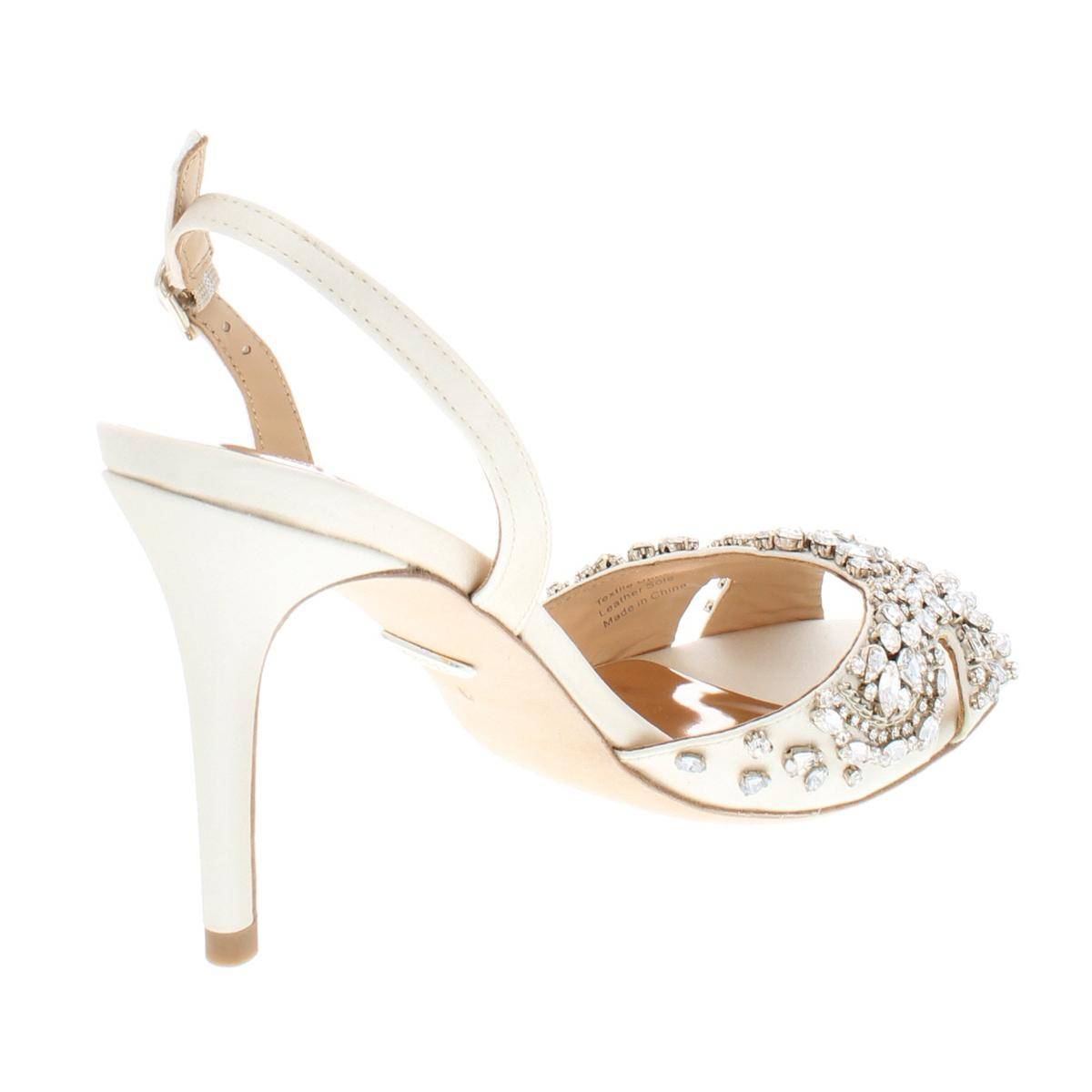 4ac528c1ff1 Badgley Mischka Womens Paula Satin Embellished Dress Sandals Heels ...