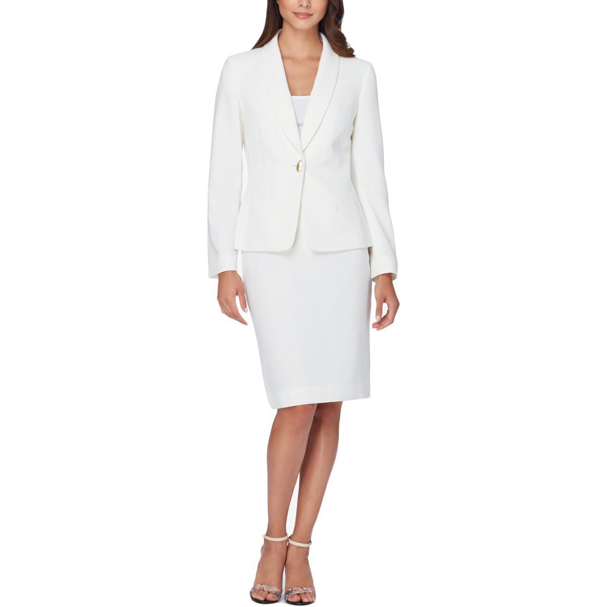 d1bc1cda9cec Details about Tahari ASL Womens Ivory 2PC Office Wear Business Skirt Suit 2  BHFO 2223