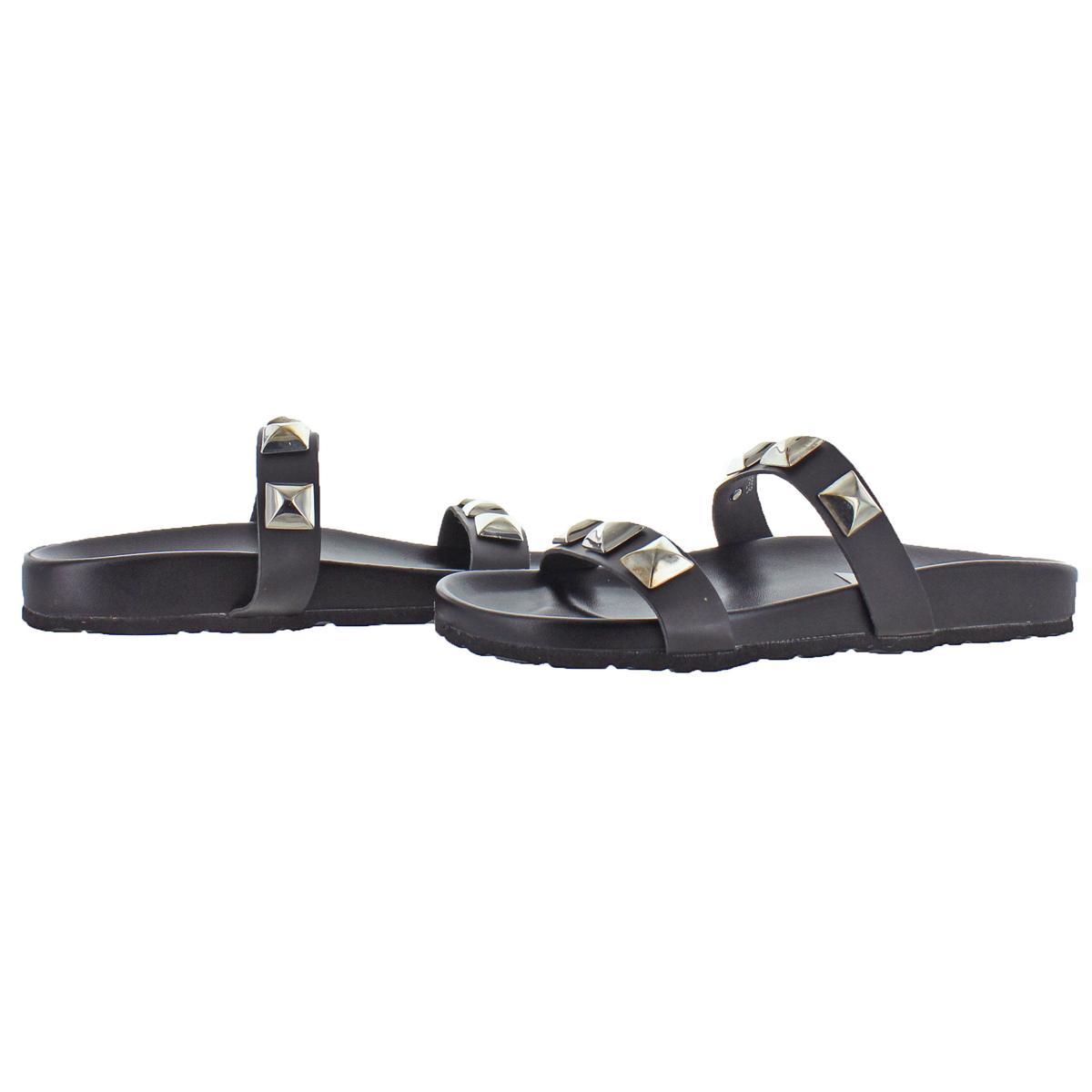 Steve-Madden-Women-039-s-Yield-Leather-Studded-Flat-Slide-Sandals thumbnail 3