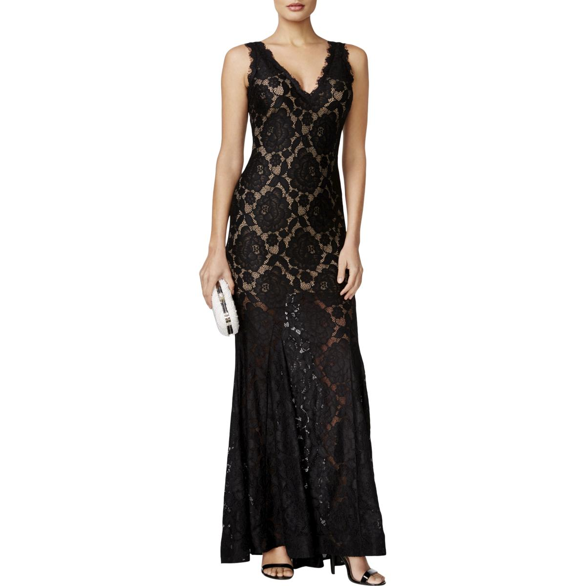 LM Collection Black Womens Size 2 Lace Racerback Flare