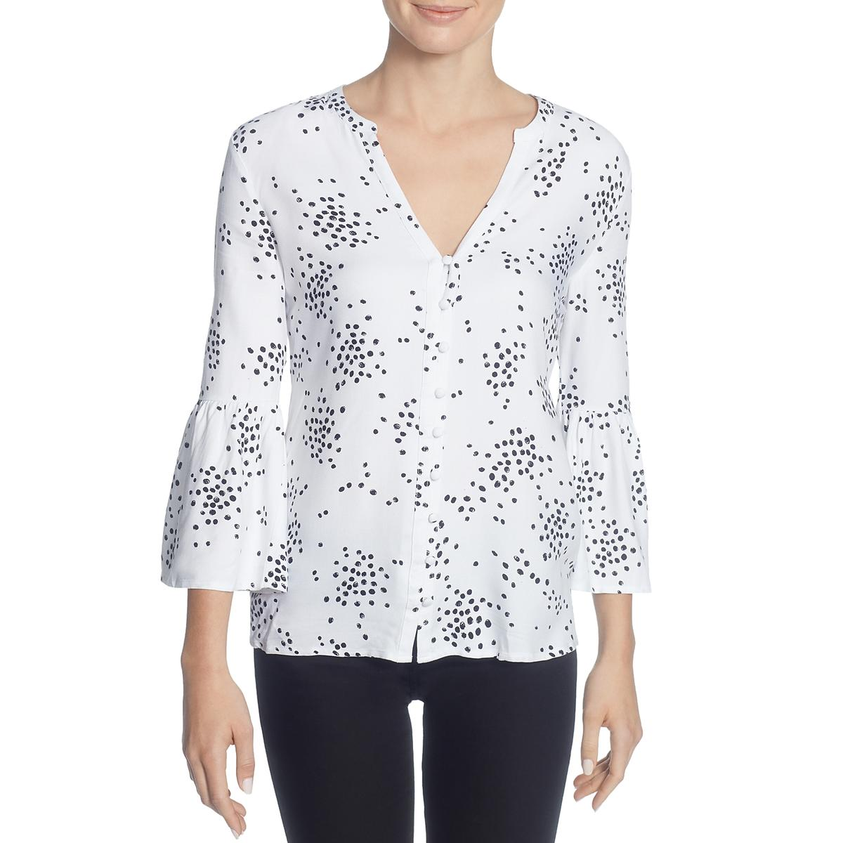 f2c19ddb90c009 Details about CATHERINE CATHERINE MALANDRINO Womens Colette White Blouse  Top L BHFO 6142