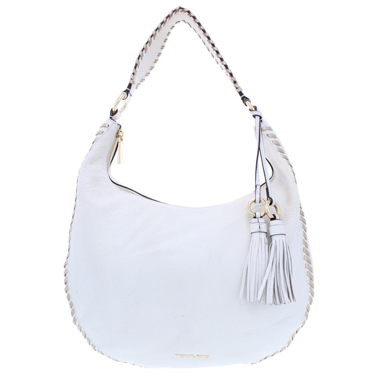 b2ab6d96e4 Details about Michael Kors Womens Lauryn White Leather Shoulder Handbag  Purse Large BHFO 8013