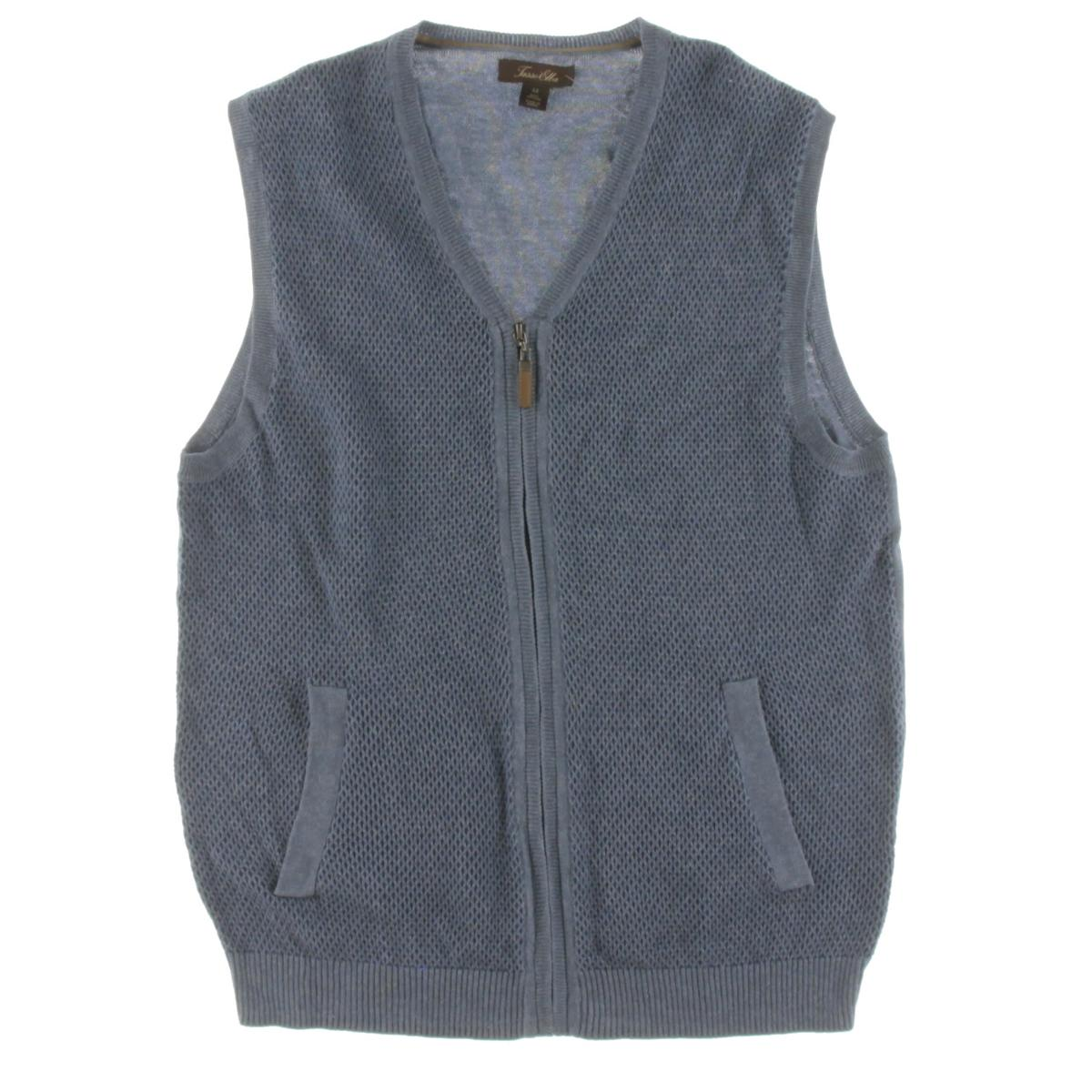 Tasso Elba 8676 Mens Knit V-Neck Front-Zip Sweater Vest BHFO | eBay