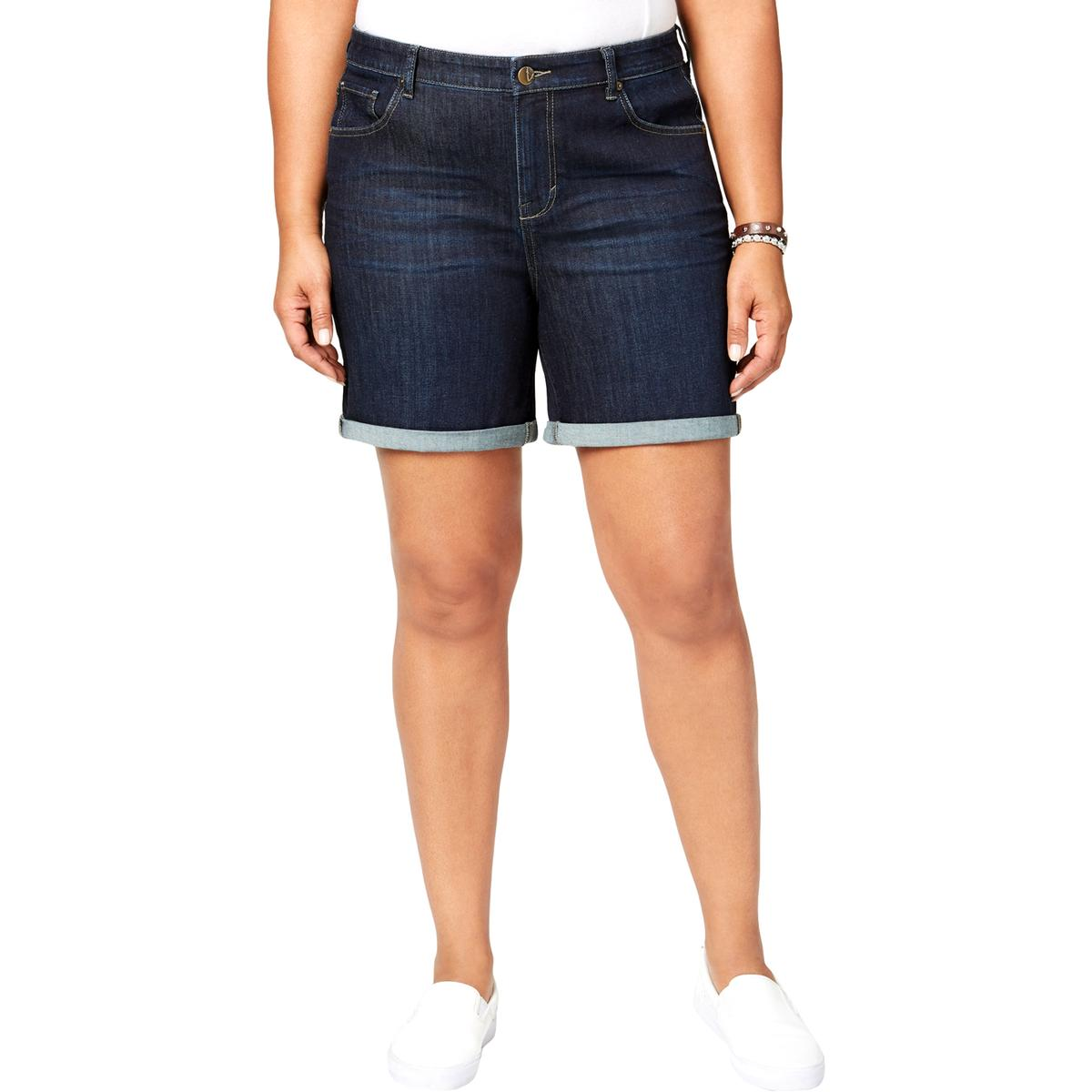 2a6cdc4089 Style & Co. Womens Navy Whisker Wash Mid Rise Denim Shorts Plus 24W ...