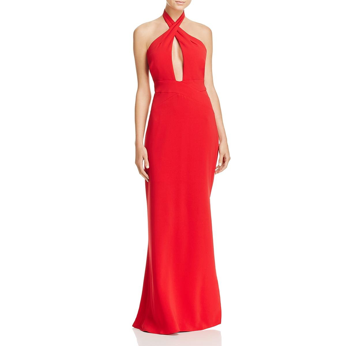 7c66585f37e3b Details about Laundry by Shelli Segal Womens Red Halter Formal Evening  Dress Gown 12 BHFO 7387