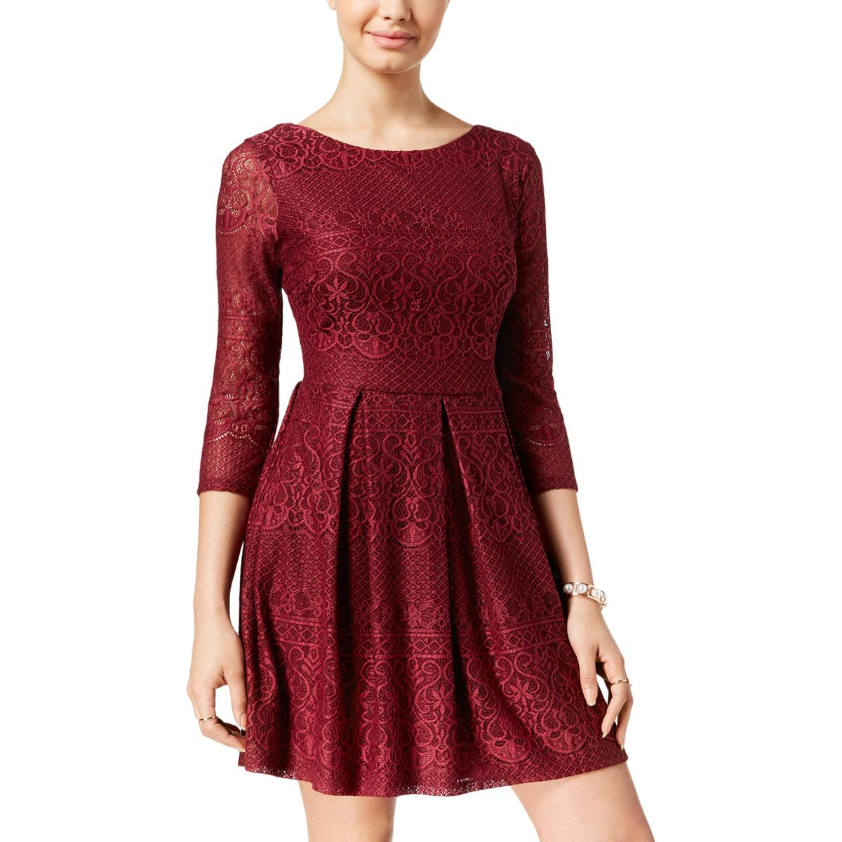 771dedb2a728 Details about B. Darlin Womens Red Lace Overlay Party Dress Juniors 5/6  BHFO 3282