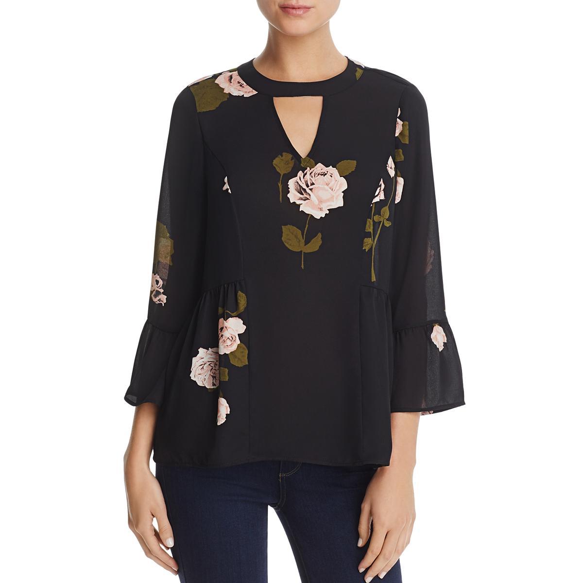 64ce24aeb77 Details about Daniel Rainn Womens Floral Print Bell Sleeves Peplum Top  Blouse BHFO 8058