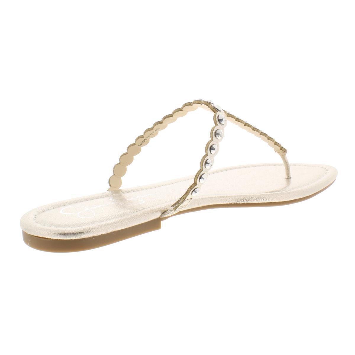 Jessica-Simpson-Womens-Karlee-Metallic-Thong-Studded-Flip-Flops-Flats-BHFO-6739 thumbnail 6