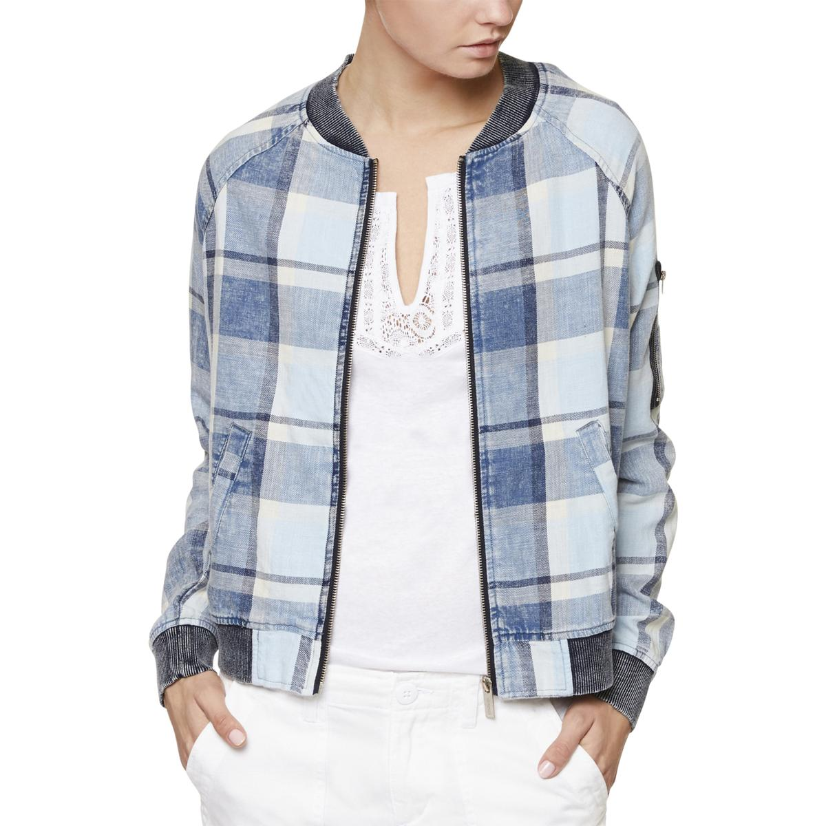 Sanctuary Womens Lightweight Plaid Casual Bomber Jacket BHFO 3681  0c585be9c