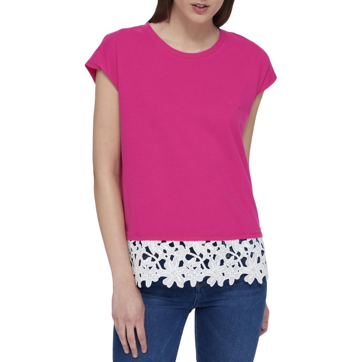 Tommy Hilfiger Womens 1238 Pink Lace Flower Cap Sleeve Top Xl B B Ebay