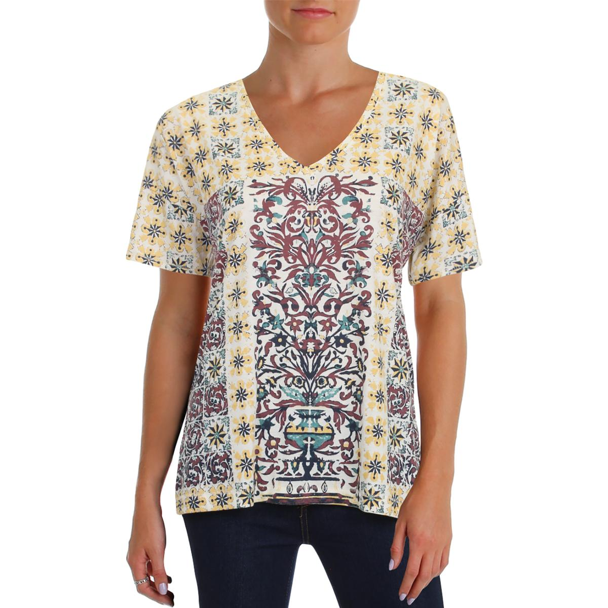 78bac164d1b1e Details about Lucky Brand Womens Printed V-Neck Side Slit T-Shirt Top BHFO  4300