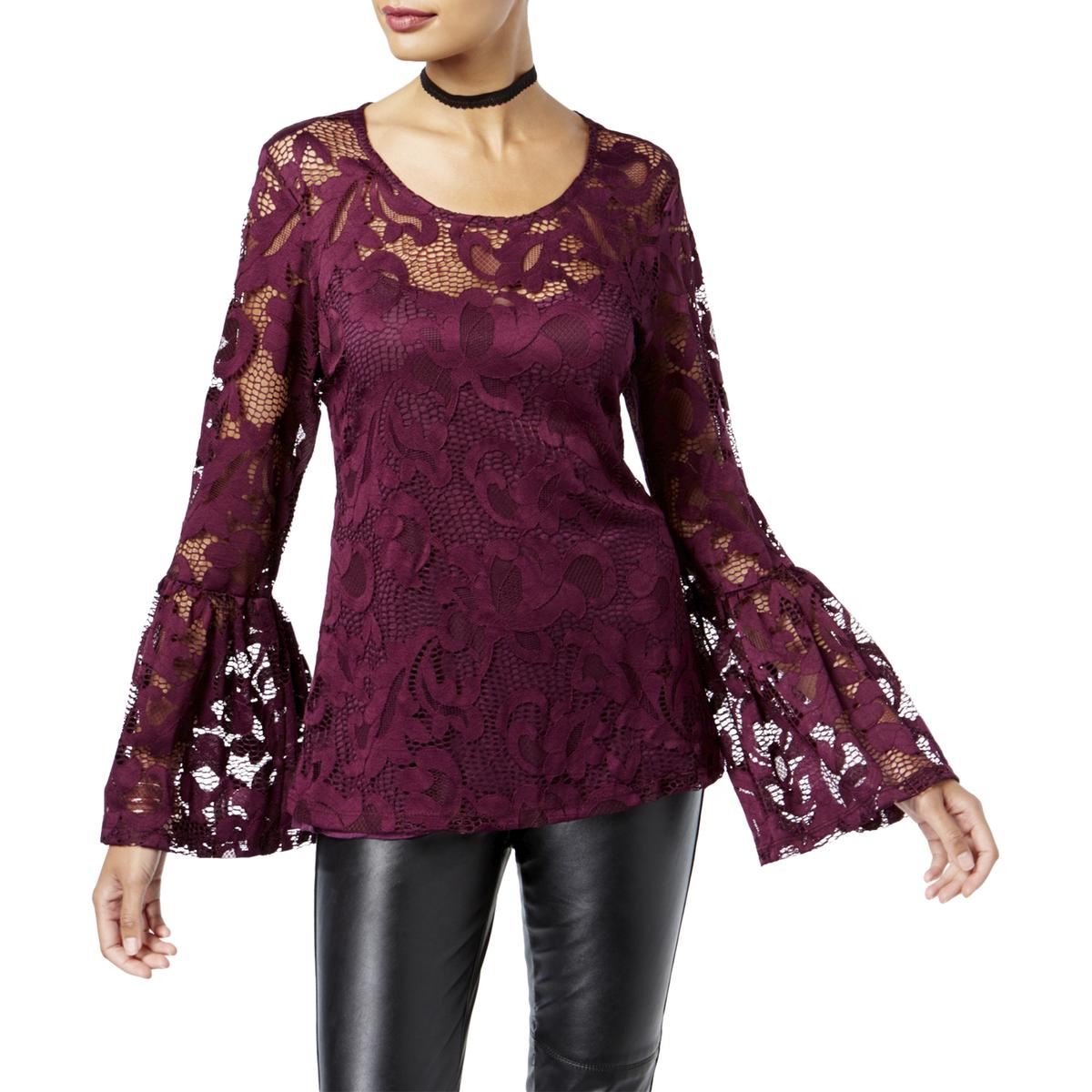 Details about INC Womens Lace Bell Sleeves Night Out Dress Top Blouse BHFO  5385 25d6fb254