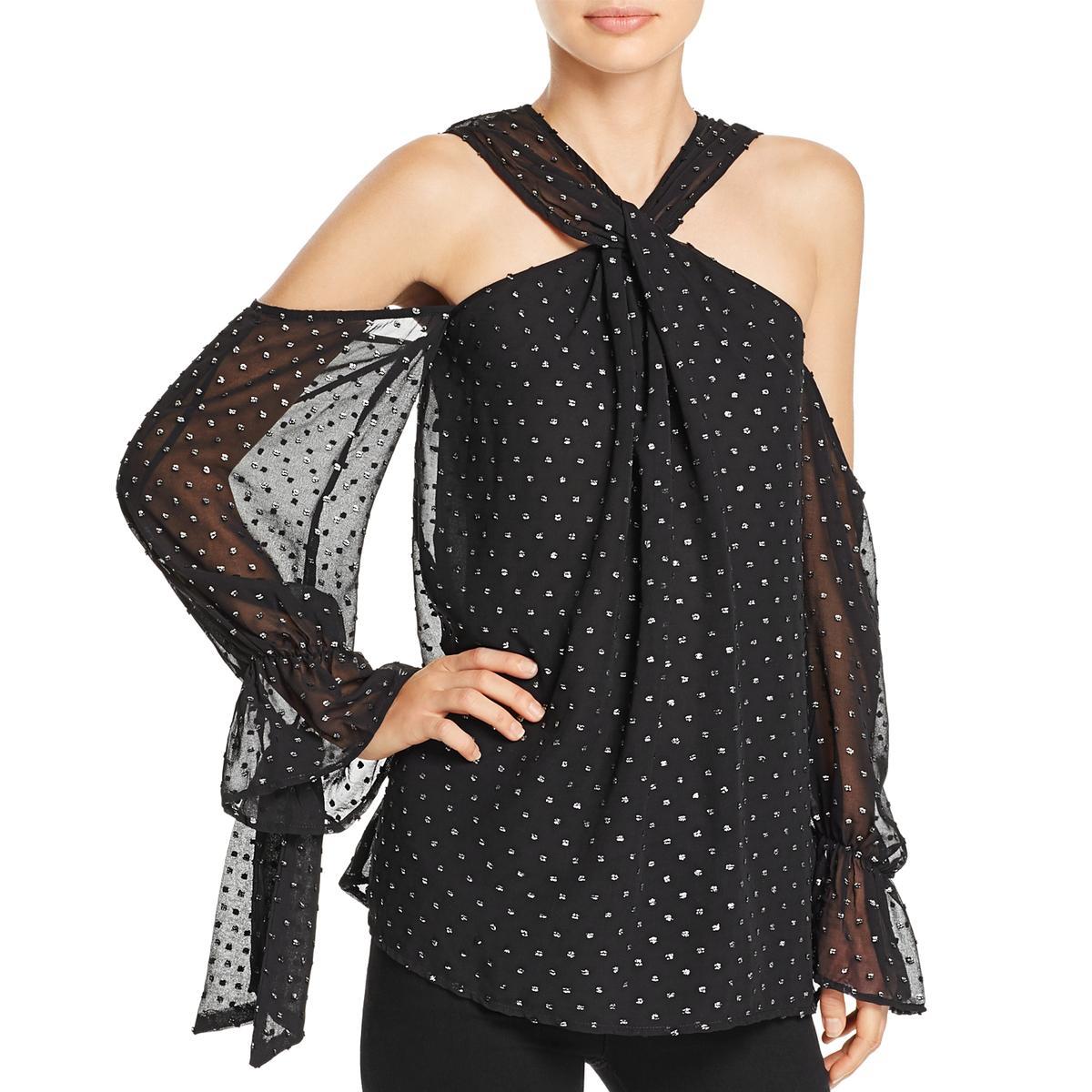 35a009cb82 Details about Bardot Womens Cold Shoulder Sheer Crisscross Pullover Top  Blouse BHFO 9281