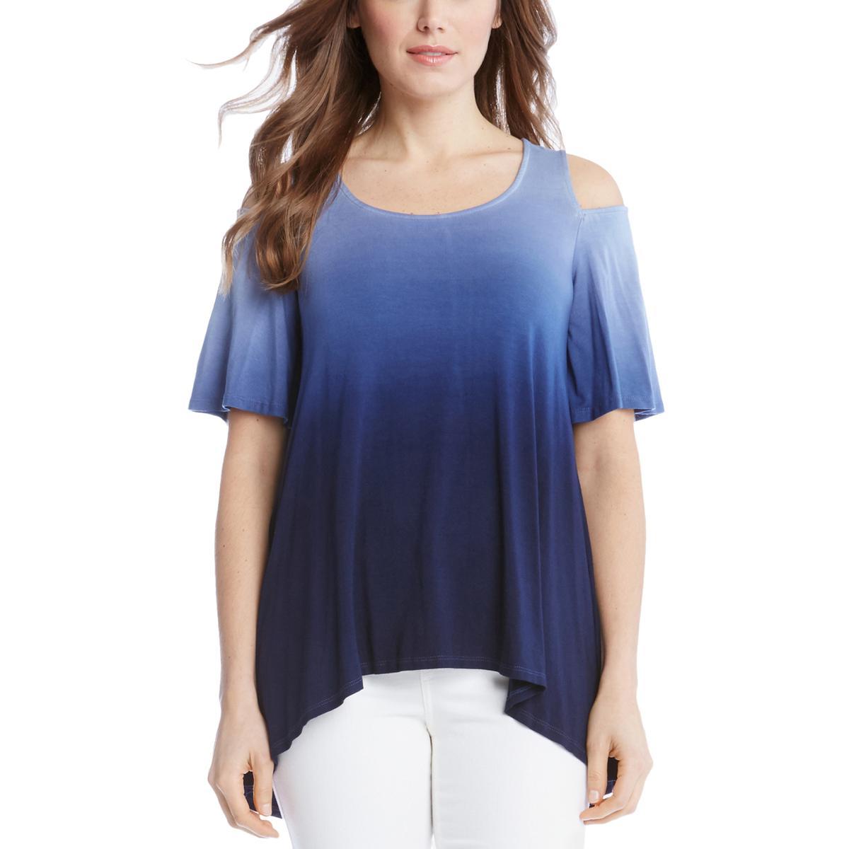 19dddcf3870 Details about Karen Kane Womens Blue Tie-Dye Ombre Cold Shoulder Tunic Top  Shirt M BHFO 7736