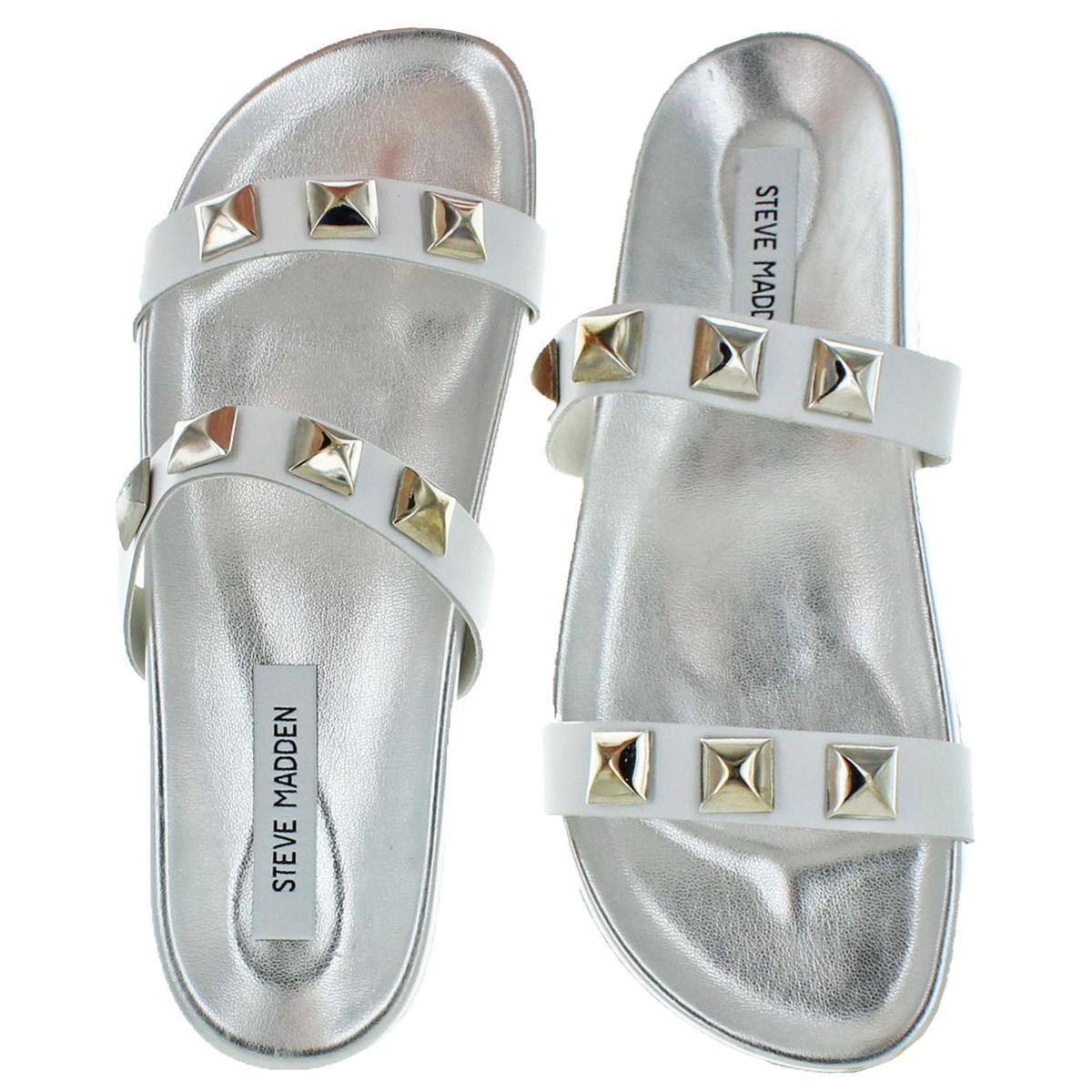 Steve-Madden-Women-039-s-Yield-Leather-Studded-Flat-Slide-Sandals thumbnail 7