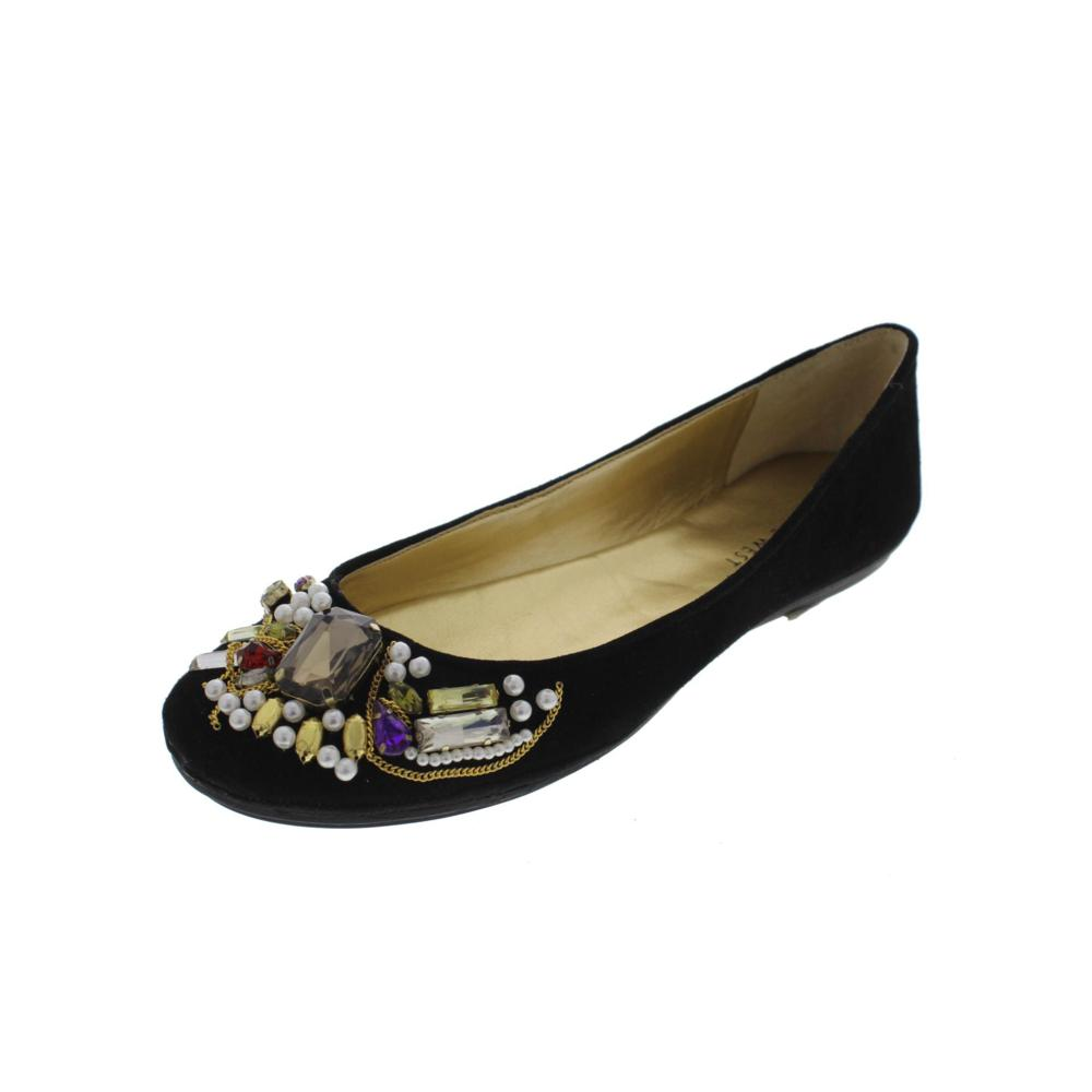 nine west sixteen black suede embellished toe ballet