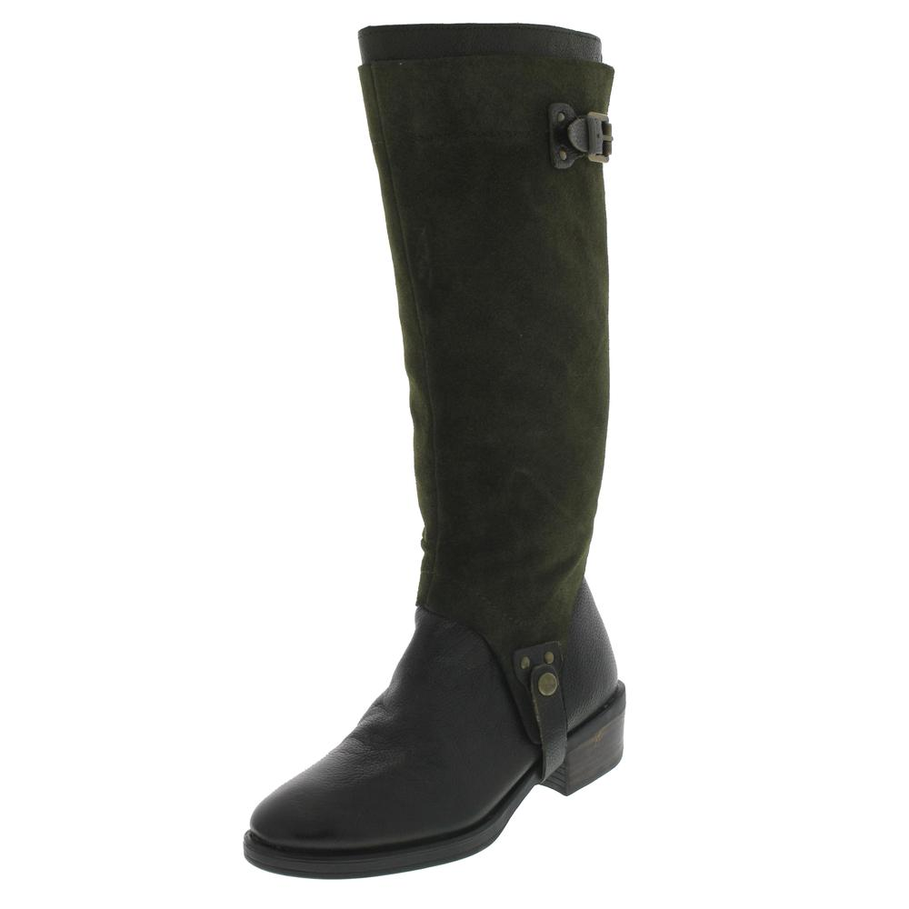 franco sarto bevel green suede knee high boots