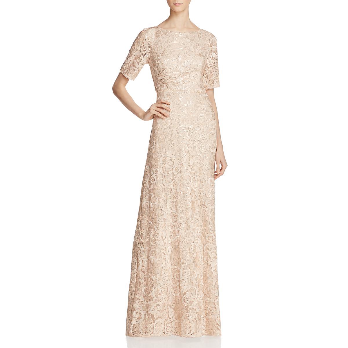 67d2e7a9de5 Details about Adrianna Papell Womens Pink Short Sleeves Evening Dress Gown  2 BHFO 9778
