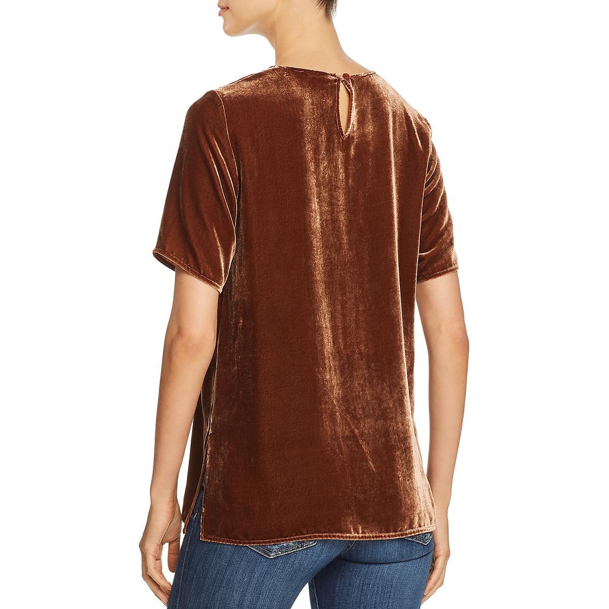 Eileen-Fisher-Womens-Velvet-Short-Sleeve-Pullover-Blouse-Top-BHFO-5939 thumbnail 6
