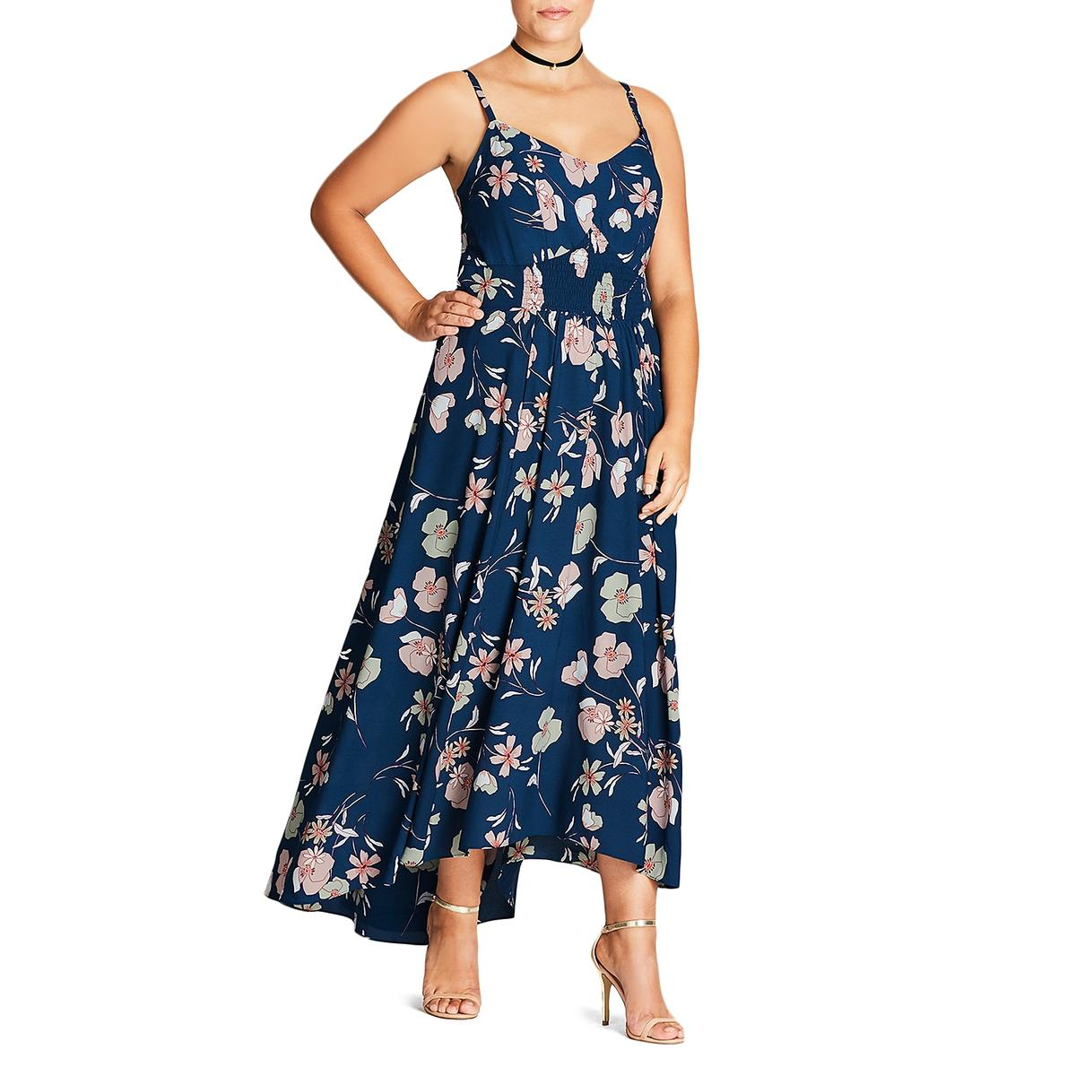 Details about City Chic Womens Smocked Floral Hi-Low Maxi Dress Plus BHFO  2902 051a03695