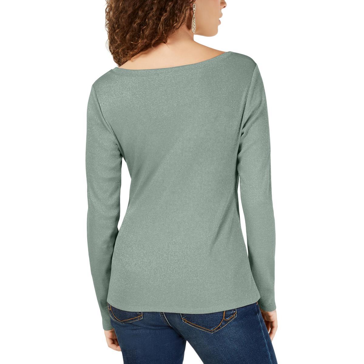 INC Womens Green Metallic Tie Front Long Sleeves Top Shirt XL BHFO 0610