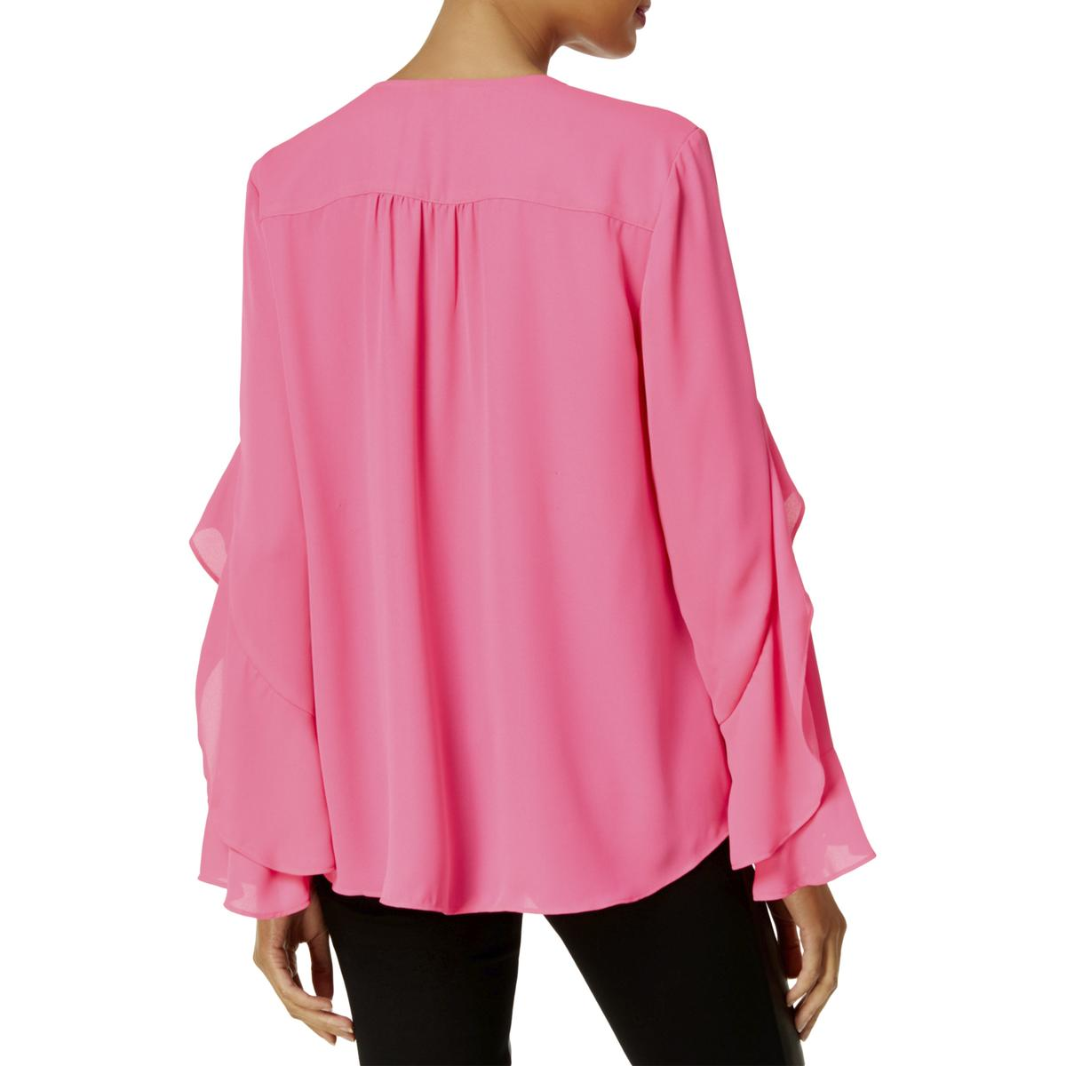 INC-Womens-Surplice-Ruffled-Bell-Sleeves-Blouse-Top-BHFO-1627