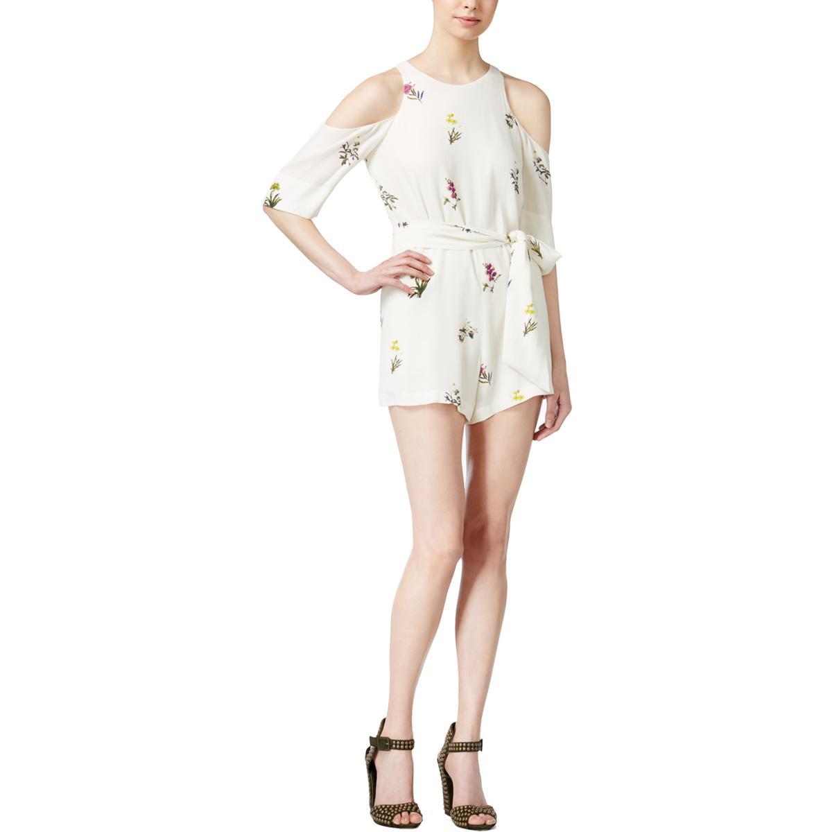 b1d26f44fe0095 Details about Rachel Rachel Roy Womens Ivory Floral Print Cold Shoulder  Romper 8 BHFO 2988