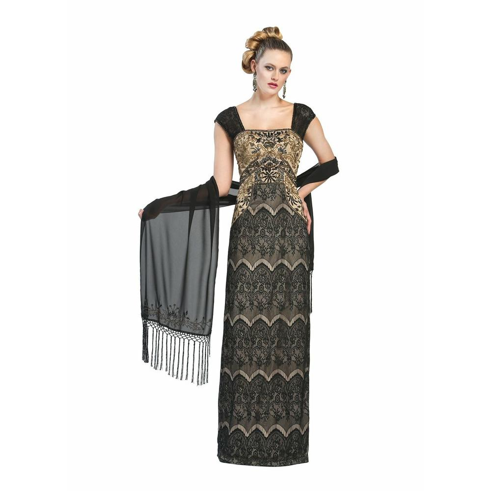 SUE WONG NEW Beaded Lace Overlay Full-Length Evening Dress