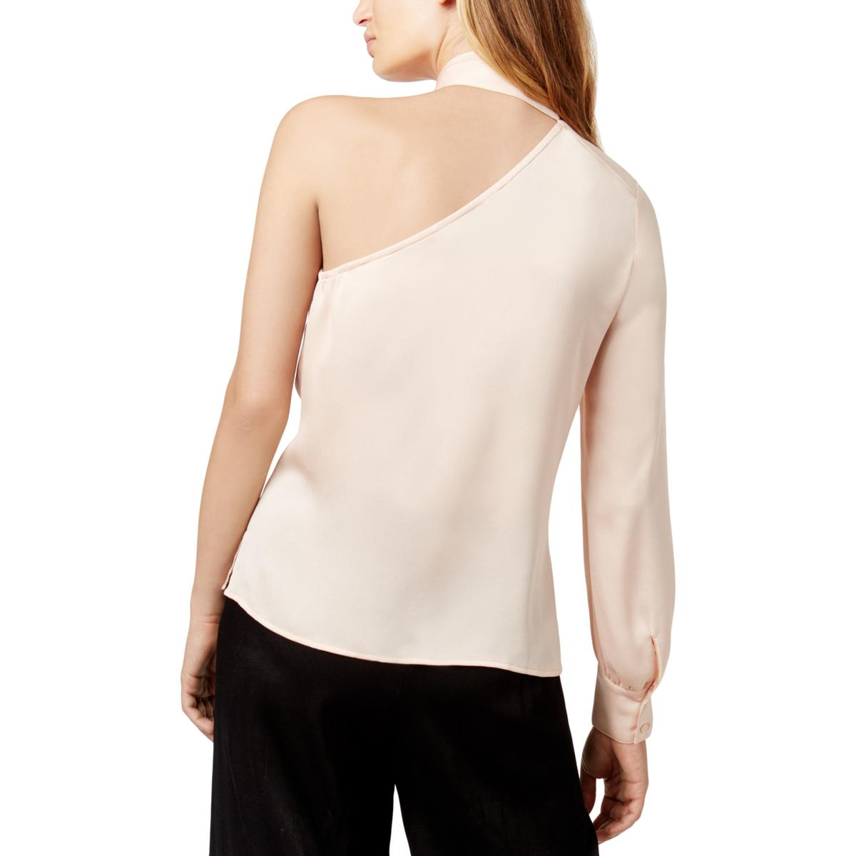 c850304924aae 1.State Womens One Shoulder Long Sleeves Tie Neck Blouse Top BHFO ...