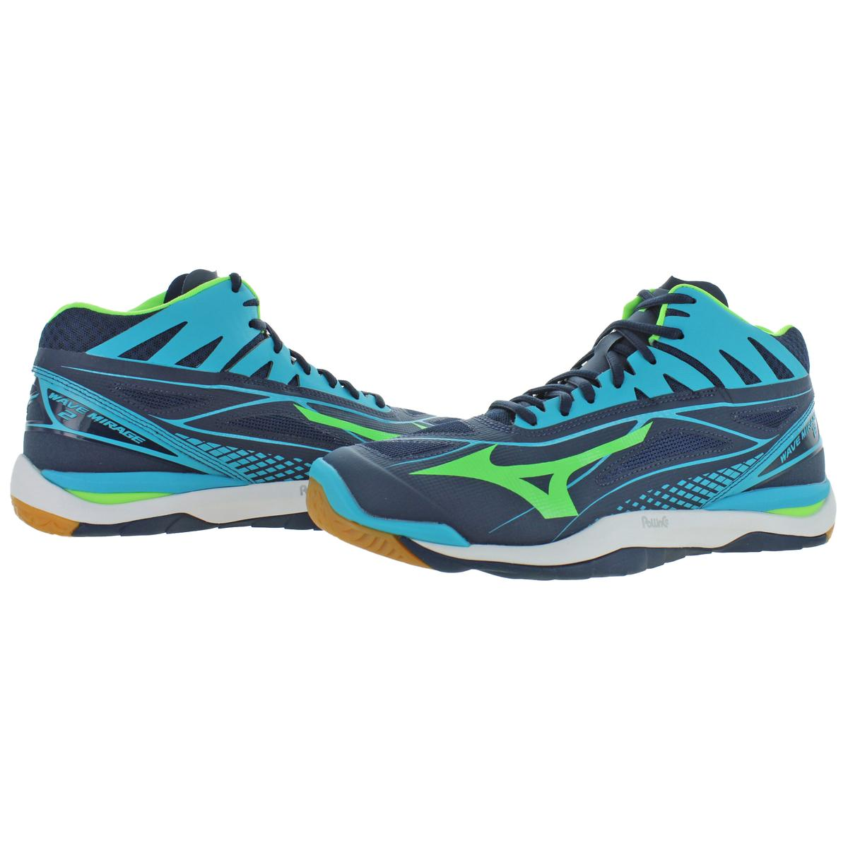 Mizuno-Mens-Wave-Mirage-2-Mid-Lace-Up-Mid-Top-Handball-Sneakers-Shoes-BHFO-9977 thumbnail 8