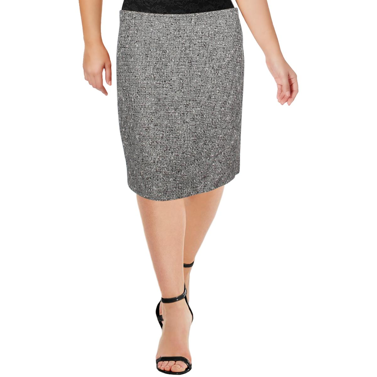 Tahari ASL Womens Black-Ivory Boucle Work Wear Pencil Skirt Plus 18 BHFO 9009