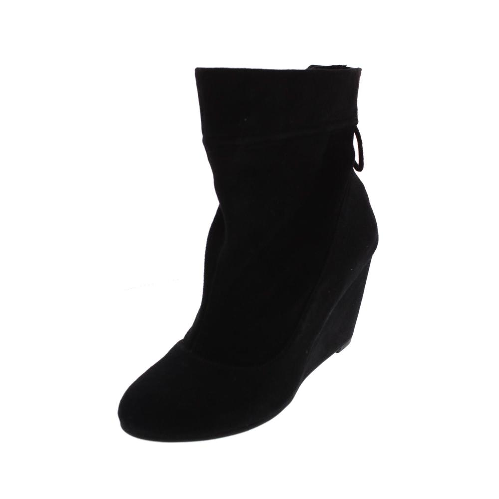 bcbg wessy black suede wedges ankle boots shoes 6 5 bhfo