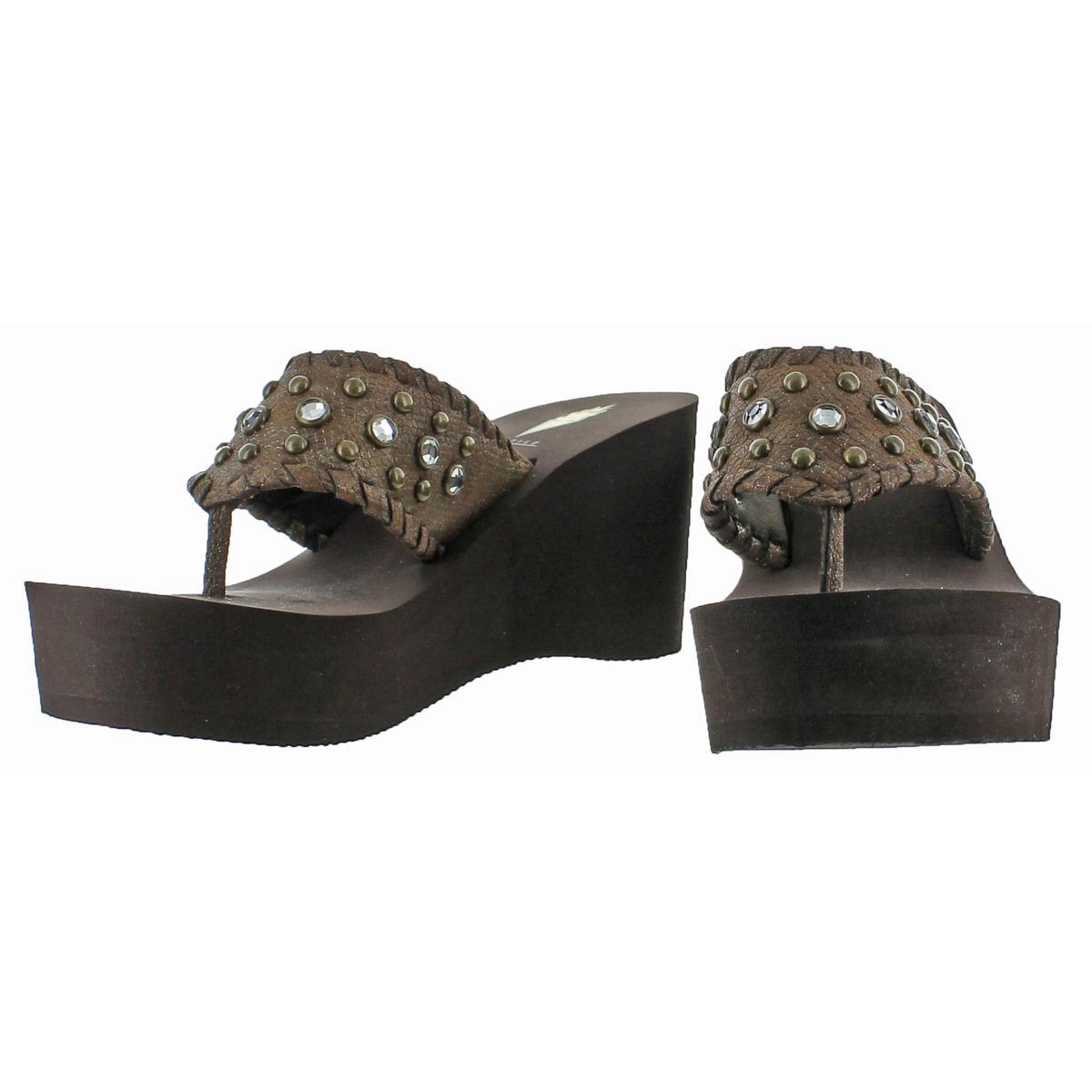 Volatile-Billyray-Women-039-s-Studded-Metallic-Slip-On-Platform-Wedge-Sandals-Shoes thumbnail 4