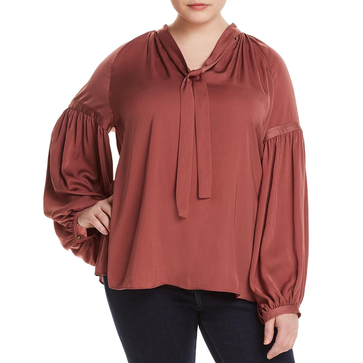 3028a4e050a Details about Lucky Brand Womens Jenna Satin Tie-Neck Peasant Top Blouse  Plus BHFO 5604