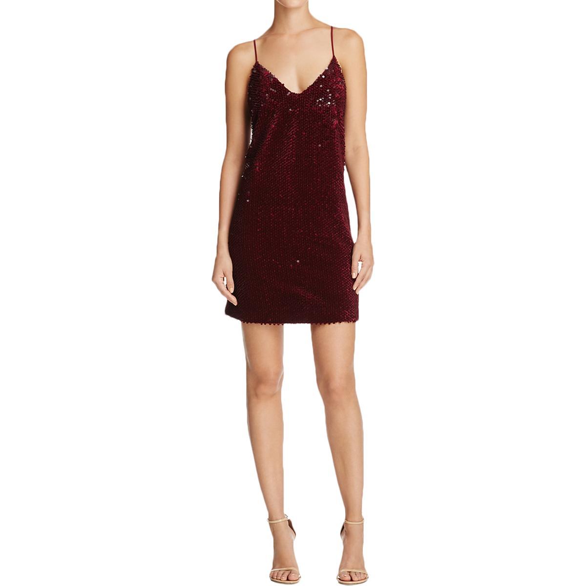 Kendall Kylie Deep Red Velvet Sequins Mini Sheath Slip Dress S | eBay