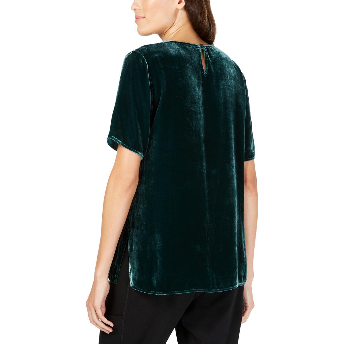 Eileen-Fisher-Womens-Velvet-Short-Sleeve-Pullover-Blouse-Top-BHFO-5939 thumbnail 8