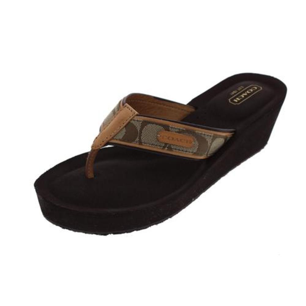 coach juliet brown signature platform wedges sandals