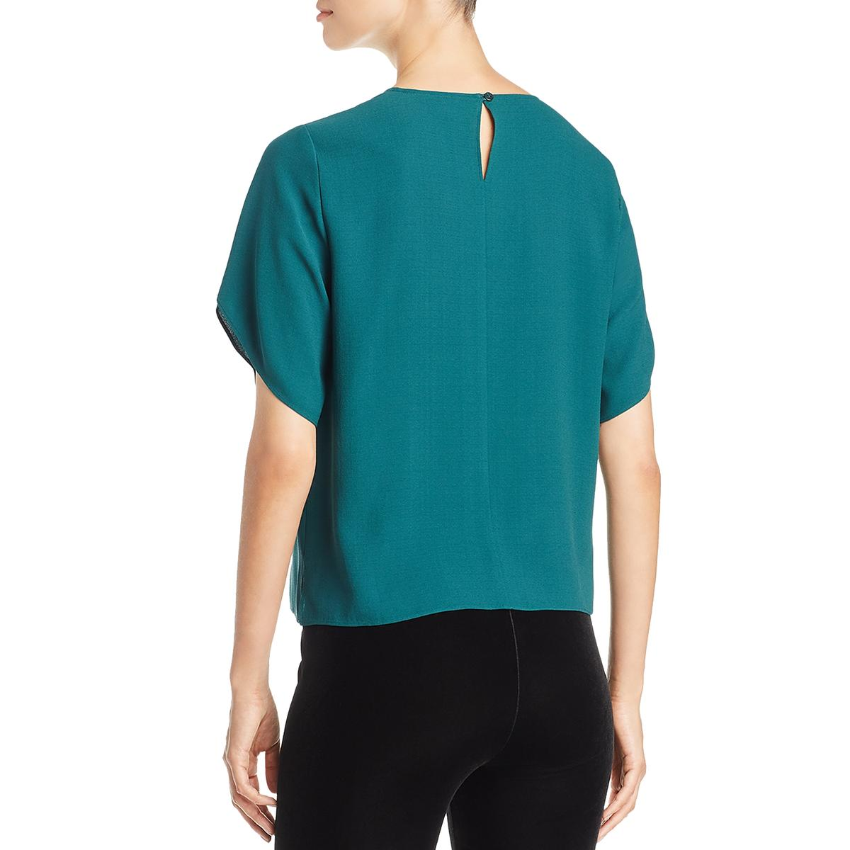 Eileen-Fisher-Womens-Silk-Jewel-Neck-Tulip-Pullover-Top-Shirt-BHFO-8831 thumbnail 6