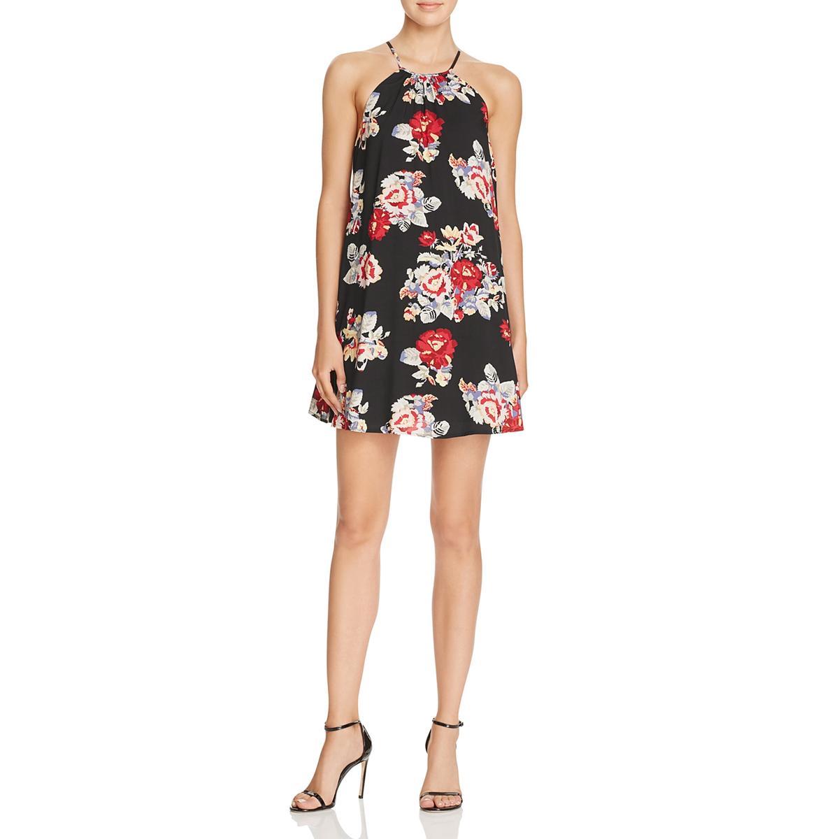 0b083a9b6aa31 Details about Minkpink Womens Black Floral Print Halter Swing Mini Dress XS  BHFO 9203