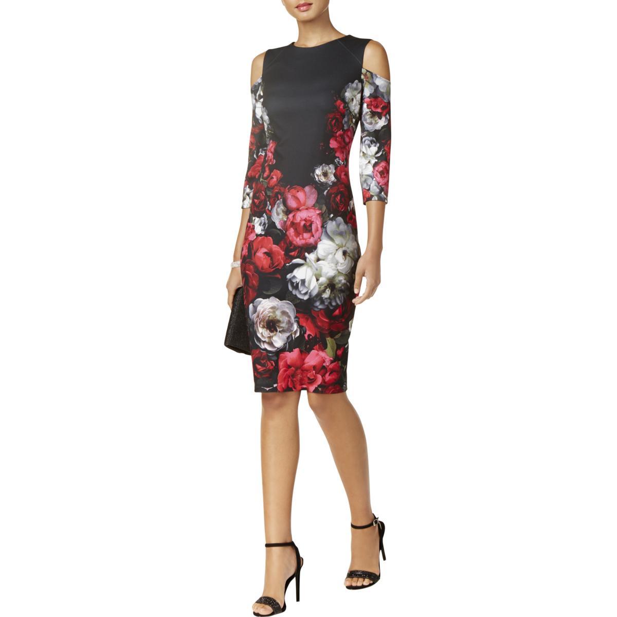 61e4b5336a7 Jax Black Label Womens Black Floral Print Cold Shoulder Party Dress ...