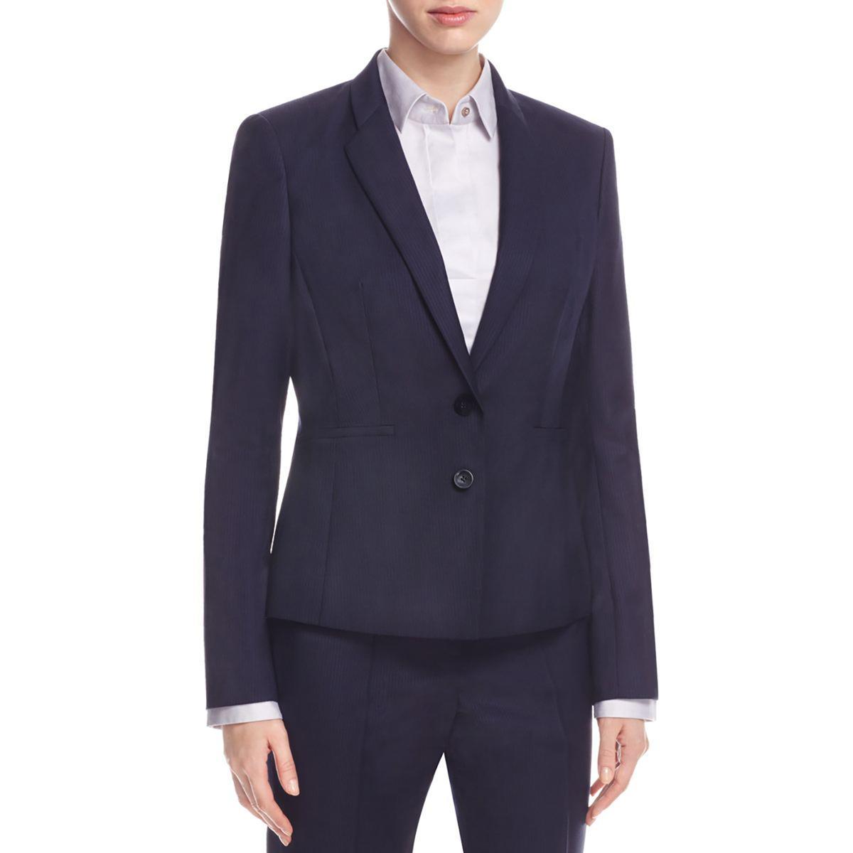 Details about BOSS Hugo Boss Womens Navy Pinstripe Double Button Blazer  Jacket 10 BHFO 3125 da7e6d350