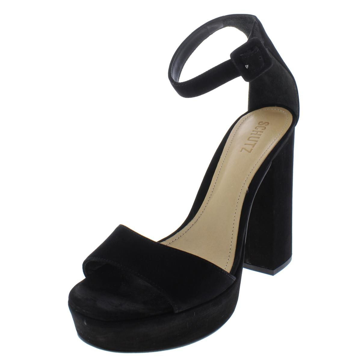 Schutz Womens Mikella Suede Heels Open Toe Dress Sandals shoes BHFO 7688
