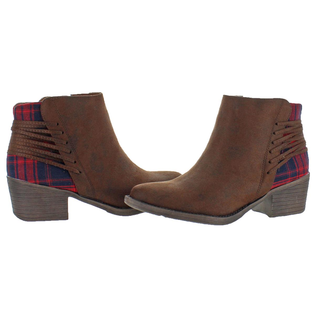 bfd75d2336d Volatile Accolade Women's Suede Plaid Stacked Heel Ankle Bootie Boots