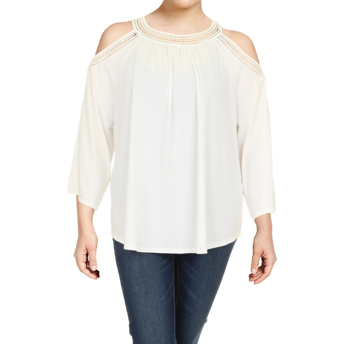 4dab01685f5 Details about Tommy Hilfiger Womens White Cold Shoulder Dress Top Blouse  Plus 1X BHFO 9815