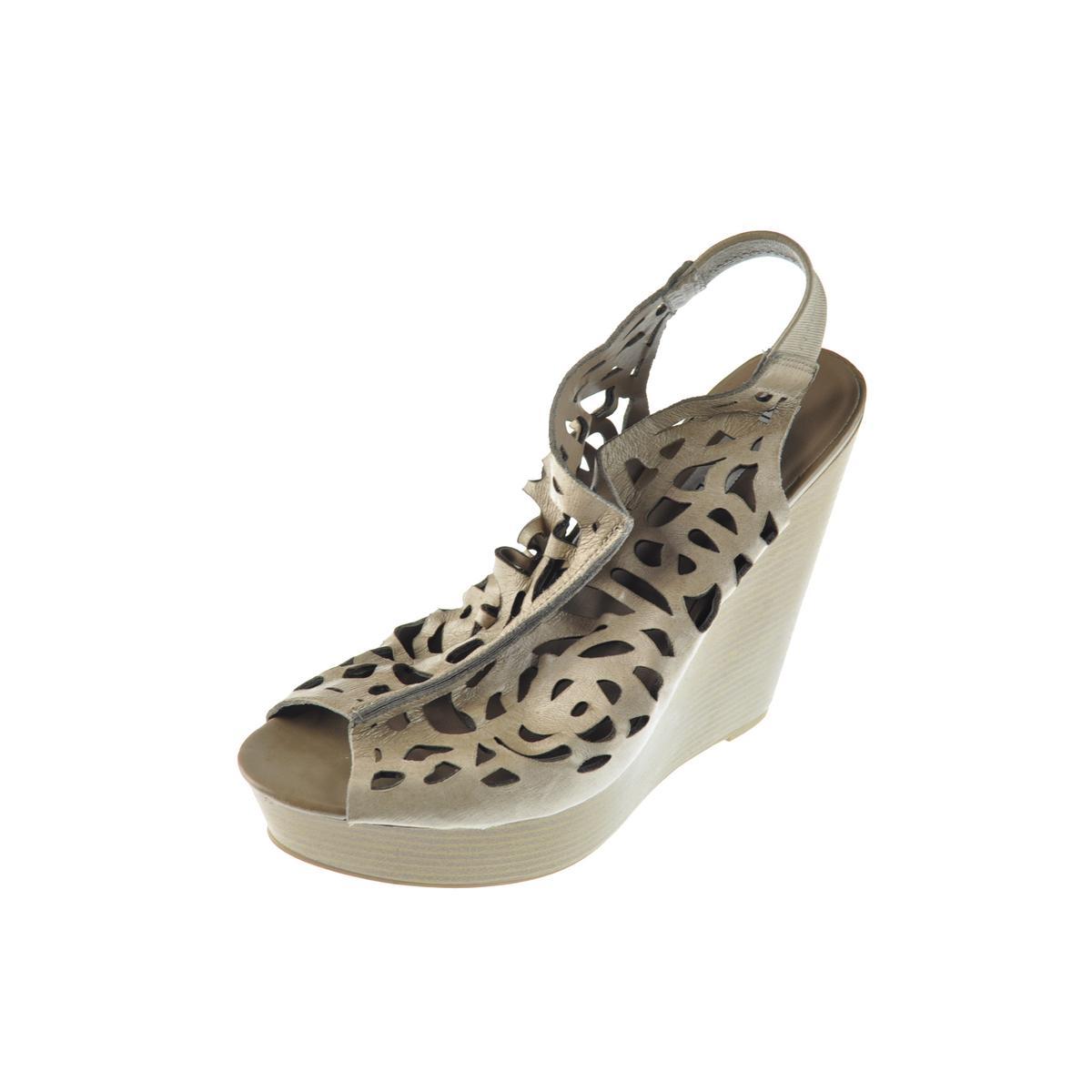 e1915ecea89 Details about Steve Madden Womens Gabel Taupe Leather Wedges Sandals 10  Medium (B,M) BHFO 1461
