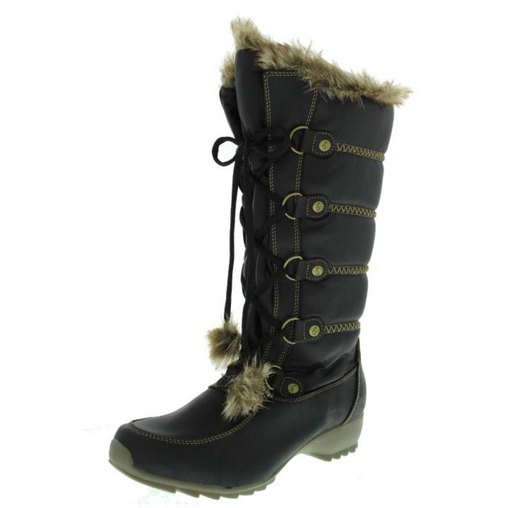 sporto new black faux fur lined waterproof snow boots