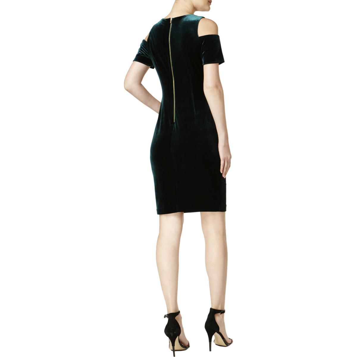 c2070b10118 Calvin Klein Womens Velvet Cold Shoulder Party Cocktail Dress BHFO ...